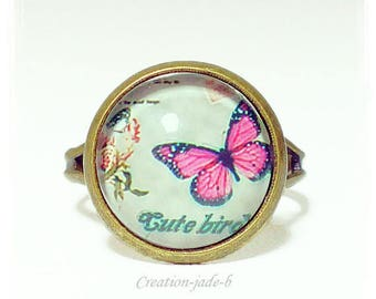 Adjustable ring - Butterfly Cabochon pink and gray