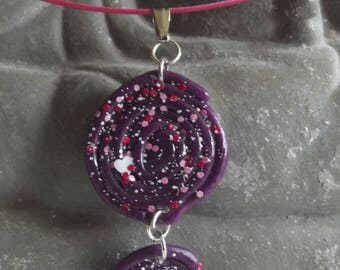 Cable, fuchsia and purple spiral polymer clay pendant necklace