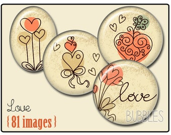 Love Printable Images Digital Collage Sheet for Jewelry Making - Digital collage sheets