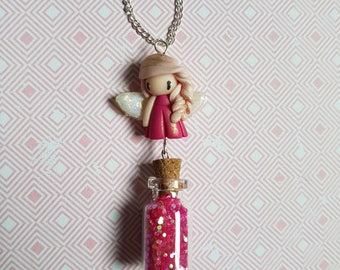 Pink fairy necklace with fairy dust