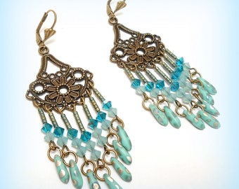 "Earrings Crystal and bronze ""farandoles turquoise Crystal!"""