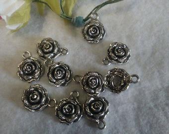 Lot de 10 breloque en forme de rose
