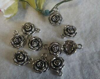 Set of 10 charm rose shaped