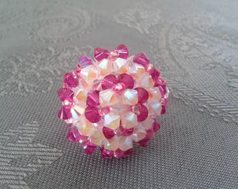 Ring White and Fuschia Swarovski Crystal beads