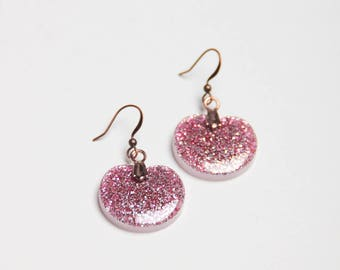 Earrings - CLEA - tinted glitter: pink