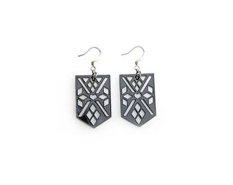 Earrings - APACHE - glossy black plastic