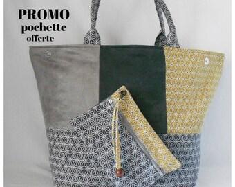 Yellow/promo gray geometric fabric suede bag Tote