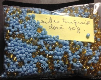 40G turquoise gold seed beads