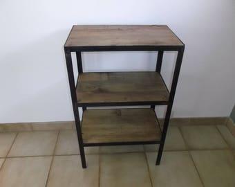 Shelf, vintage, industrial, wood, steel