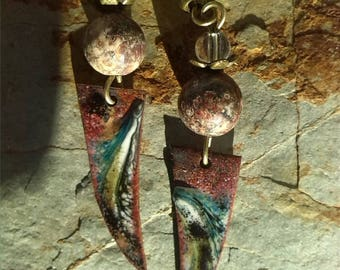 RESERVED / enamels and Jasper bead earrings