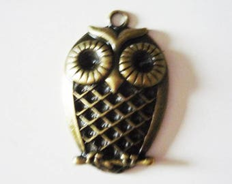 Large OWL charm pendant - silver metal