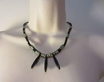 Black triple pendant necklace