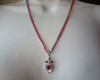 Red necklace with Pendant in sterling silver