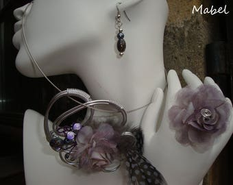 Adornment necklace flower and gray and purple feather earrings and purple grey organza flower ring, wedding