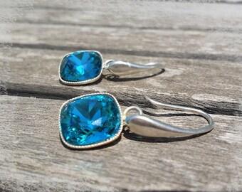 Swarovski square aquamarine Silver 925 stud earring