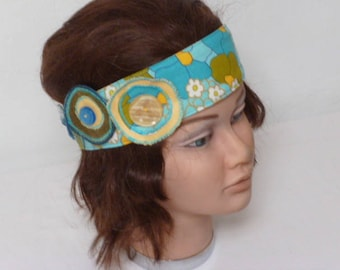head band fabric, decorated with 2 rosettes - flowers