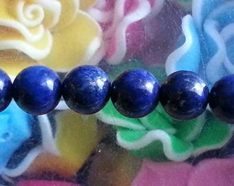 1 Pearl lapis lazulites genuine 10mm in diameter, hole 1 mm
