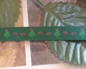 1 meter of Ribbon Christmas tree, green, 10 mm wide, 1 m