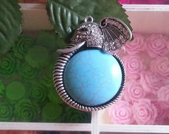 1 large pendant with Rhinestones, elephant with synthetic turquoise, 60 x 43 x 14 mm, hole: 2 mm
