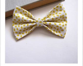 Bow tie and clip hair 2 in 1 yellow white