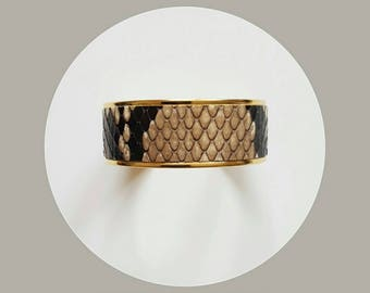 natural python leather wide cuff