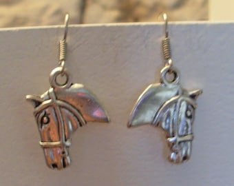 Silver horse head earrings
