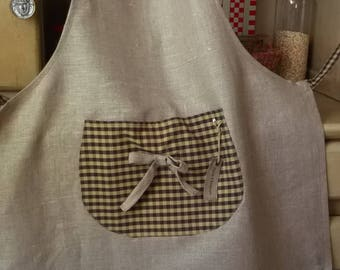 Natural linen and cotton Brown Plaid apron