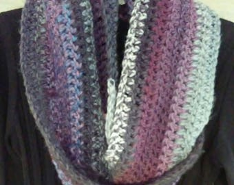 Crocheted Infinity scarf - gray and purple
