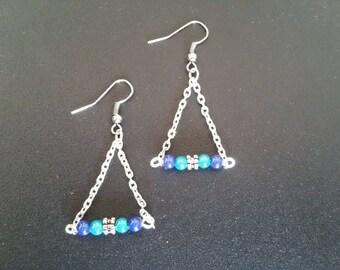 Magical Blue Pearl Earrings triangle shape