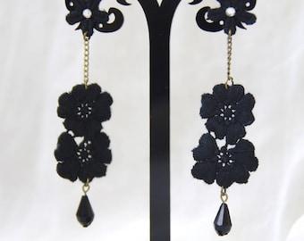 earring lace black flower elegant chic retro vintage