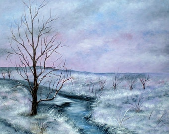 "Painting on canvas ""Frosty landscape"""