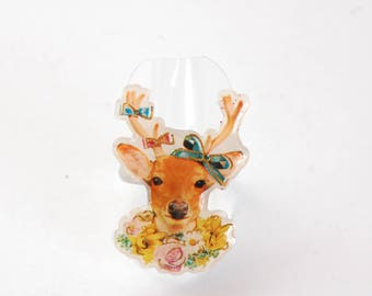 Deer ring, Flower necklace with Ribbon