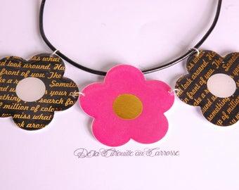 Fuchsia and black, gold flowers bib necklace