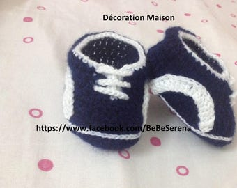 Sporty white and Navy Blue Crochet baby shoes