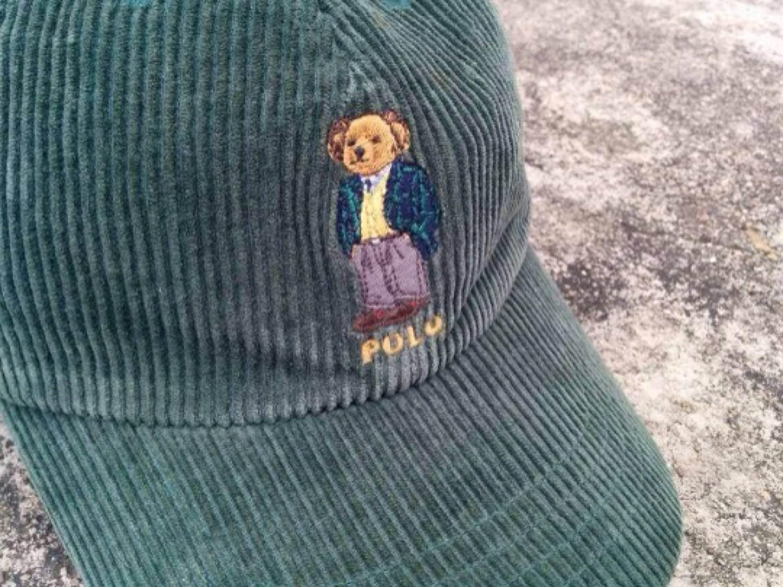 dda72ace97f Vintage 90s Polo Bear ralph lauren corduroy cap adj ...