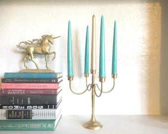 Vintage Brass Candelabra / Brass Wedding Candelbra / Bohemian Five Arm Candlestick Holder