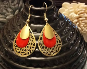 Enamelled sequin red Gypsy style earrings