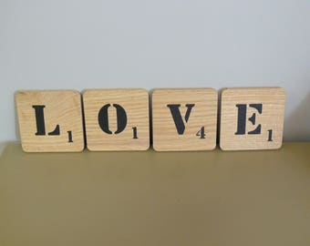 Love Scrabble letter in oak