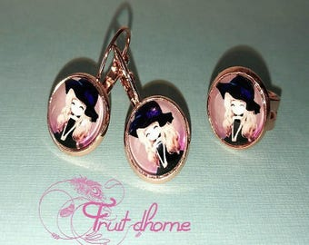 """Magnificent finery child """"Princess Mei Mei"""" rose gold earrings in brass and its matching Adjustable ring"""