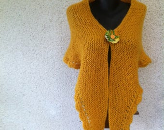 Sunshine yellow tones warm mohair and worsted wool shawl