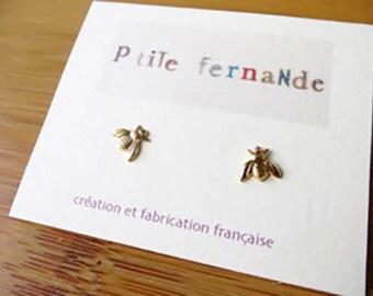 Mini-abeilles Stud Earrings in Golden brass