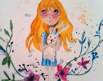 """For girl nursery artwork: Lilirose and rabbit"""