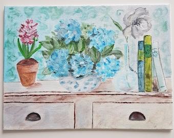 Bouquet of hydrangeas on shabby chic Dresser