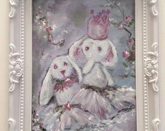 """Lilirose plush rabbit and elephant"" small decorative shabby chic"