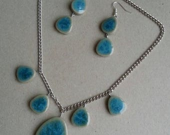 Choker necklace and earrings turquoise ceramic set