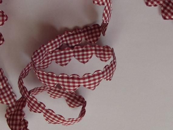 Burgundy heart pattern cotton Ribbon
