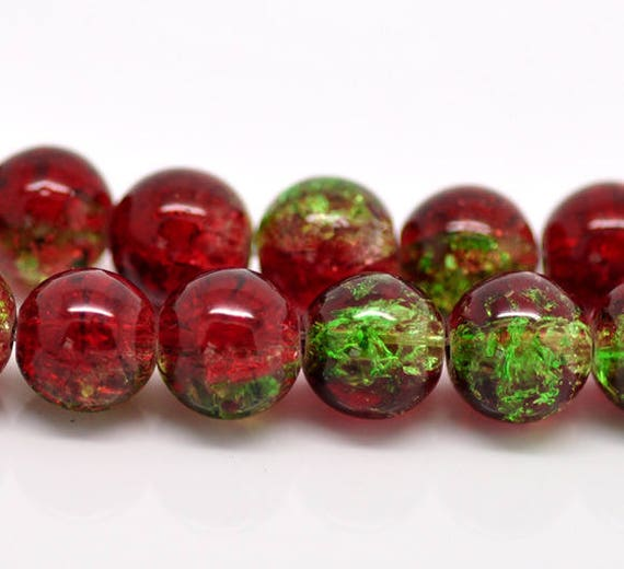 Set of 5 beads cracked glass - red & green - 10 mm