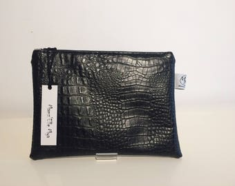 EMMA clutch in black imitation leather