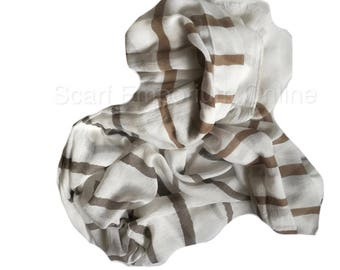 Lovely Browns & cream Stripe Scarf / Fashion Accessories / Women Scarves / Gifts For Her