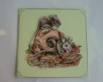 Card 3d cute little mouse no. 23